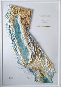 California shaded relief map