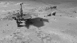Mars Rover - Spirit: This special effects image of the Mars Exploration Rover Spirit was created using a rover model and an image taken by the Spirit navigation camera. Image courtesy of NASA/JPL-Caltech.